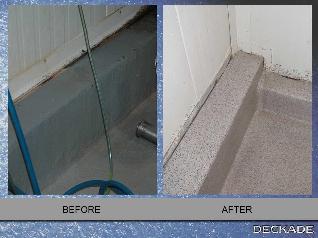 Industrial Kitchen Flooring Before And After Images Deckade Flooring Installation Deckade