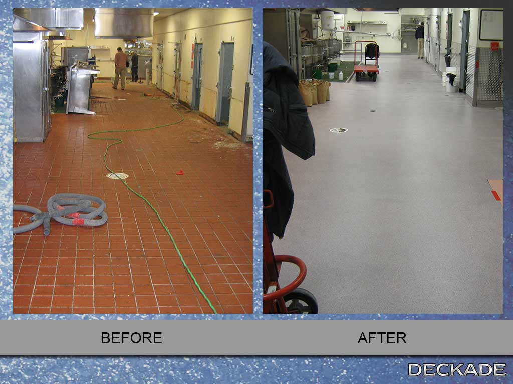 before and after images deckade flooring installation | deckade